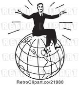 Vector Clip Art of Retro Guy Sitting on Top of a Globe by BestVector