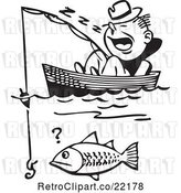 Vector Clip Art of Retro Guy Sleeping in a Boat and Catching a Fish by BestVector