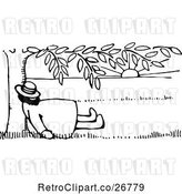 Vector Clip Art of Retro Guy Sleeping Under a Tree by Prawny Vintage