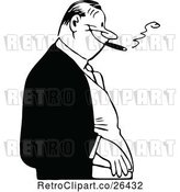 Vector Clip Art of Retro Guy Smoking a Cigar by Prawny Vintage