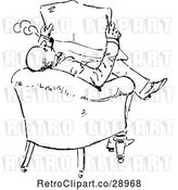 Vector Clip Art of Retro Guy Smoking and Reading by Prawny Vintage