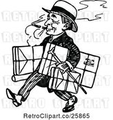 Vector Clip Art of Retro Guy Smoking and Walking with Parcels by Prawny Vintage