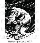 Vector Clip Art of Retro Guy Snowshoeing Through a Winter Night by Prawny Vintage