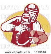 Vector Clip Art of Retro Guy Spraying Paint or Pesticide by Patrimonio