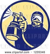 Vector Clip Art of Retro Guy Spraying Paint or Pesticide in a Circle by Patrimonio