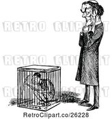 Vector Clip Art of Retro Guy Standing by Another in a Cage by Prawny Vintage