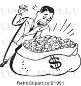 Vector Clip Art of Retro Guy Standing over a Sack of Money by BestVector