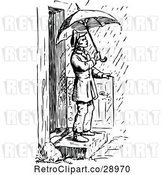 Vector Clip Art of Retro Guy Stepping into the Rain with an Umbrella by Prawny Vintage