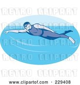 Vector Clip Art of Retro Guy Swimming Logo by Patrimonio