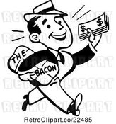 Vector Clip Art of Retro Guy Taking Home the Bacon by BestVector