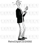 Vector Clip Art of Retro Guy Taking Medication by Prawny Vintage