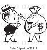 Vector Clip Art of Retro Guy Talking to a Money Bag by BestVector