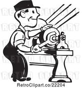 Vector Clip Art of Retro Guy Tightening by BestVector