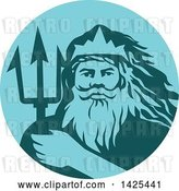 Vector Clip Art of Retro Guy, Triton Mythological God, Holding a Trident in a Blue and Teal Circle by Patrimonio
