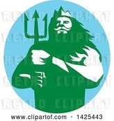 Vector Clip Art of Retro Guy, Triton Mythological God, Holding a Trident in a Blue Green and White Circle by Patrimonio