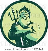 Vector Clip Art of Retro Guy, Triton Mythological God, Holding a Trident in Folded Arms Inside a Green Circle by Patrimonio