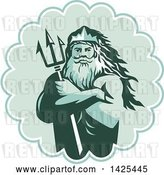 Vector Clip Art of Retro Guy, Triton Mythological God, Holding a Trident in Folded Arms Inside a Rosette by Patrimonio