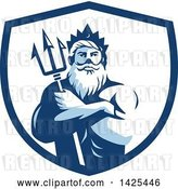 Vector Clip Art of Retro Guy, Triton Mythological God, Holding a Trident in Folded Arms Inside a White and Blue Shield by Patrimonio