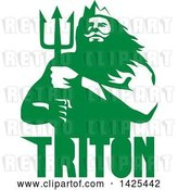 Vector Clip Art of Retro Guy, Triton Mythological God, Holding a Trident, in Green and White over Text by Patrimonio