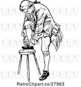 Vector Clip Art of Retro Guy Tying His Shoe by Prawny Vintage