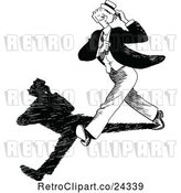 Vector Clip Art of Retro Guy Walking Fast with a Shadow by Prawny Vintage