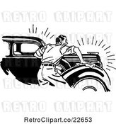 Vector Clip Art of Retro Guy Waxing a Car by BestVector