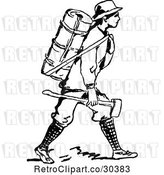 Vector Clip Art of Retro Guy with a Backpack and Axe by Prawny Vintage