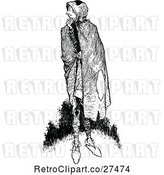 Vector Clip Art of Retro Guy with a Cape by Prawny Vintage