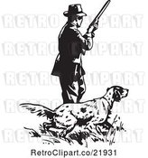 Vector Clip Art of Retro Guy with a Hunting Dog by BestVector