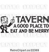 Vector Clip Art of Retro Guy with Tavern a Good Place to Eat and Be Merry Text by BestVector