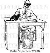 Vector Clip Art of Retro Guy Working at a Desk with a Cat by Prawny Vintage