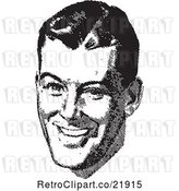 Vector Clip Art of Retro Guy's Face with a Smile by BestVector