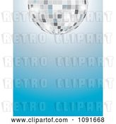 Vector Clip Art of Retro Half Silver Disco Ball over a Gradient Blue Background by Maria Bell