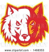 Vector Clip Art of Retro Half White, Half Red and Orange Wolf Face by Patrimonio