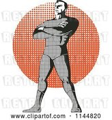 Vector Clip Art of Retro Halftone Male Superhero Standing over a Halftone Circle by Patrimonio