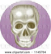 Vector Clip Art of Retro Halftone Skull over Purple by Patrimonio