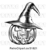 Vector Clip Art of Retro Halloween Woodcut Jackolantern Pumpkin Wearing a Witch Hat 2 by AtStockIllustration