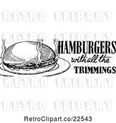 Vector Clip Art of Retro Hamburger with All the Trimmings Menu Design by BestVector