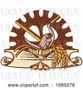 Vector Clip Art of Retro Hammer Sickle Gear Cog and Wheat Logo by Patrimonio