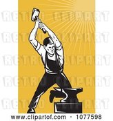 Vector Clip Art of Retro Hammering Blacksmith and Anvil by Patrimonio