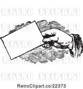 Vector Clip Art of Retro Hand Giving a Business Card by BestVector