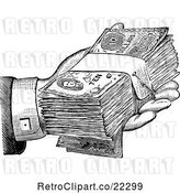 Vector Clip Art of Retro Hand Giving Cash by BestVector