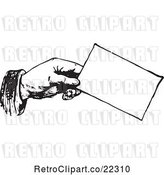 Vector Clip Art of Retro Hand Holding a Business Card by BestVector