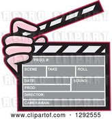 Vector Clip Art of Retro Hand Holding a Clapperboard by Patrimonio