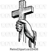 Vector Clip Art of Retro Hand Holding a Cross by Prawny Vintage