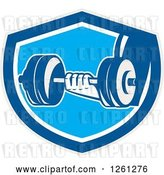 Vector Clip Art of Retro Hand Holding a Dumbbell in a Blue Gray and White Shield by Patrimonio