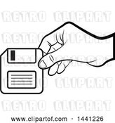 Vector Clip Art of Retro Hand Holding a Floppy Disk by Lal Perera