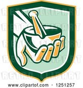 Vector Clip Art of Retro Hand Holding a Mortar and Pestle in a Green and Yellow Shield by Patrimonio