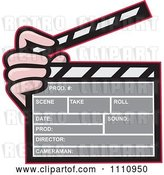 Vector Clip Art of Retro Hand Holding a Movie Clapper Board by Patrimonio