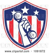 Vector Clip Art of Retro Hand Holding a Phone up over an American Flag Shield by Patrimonio